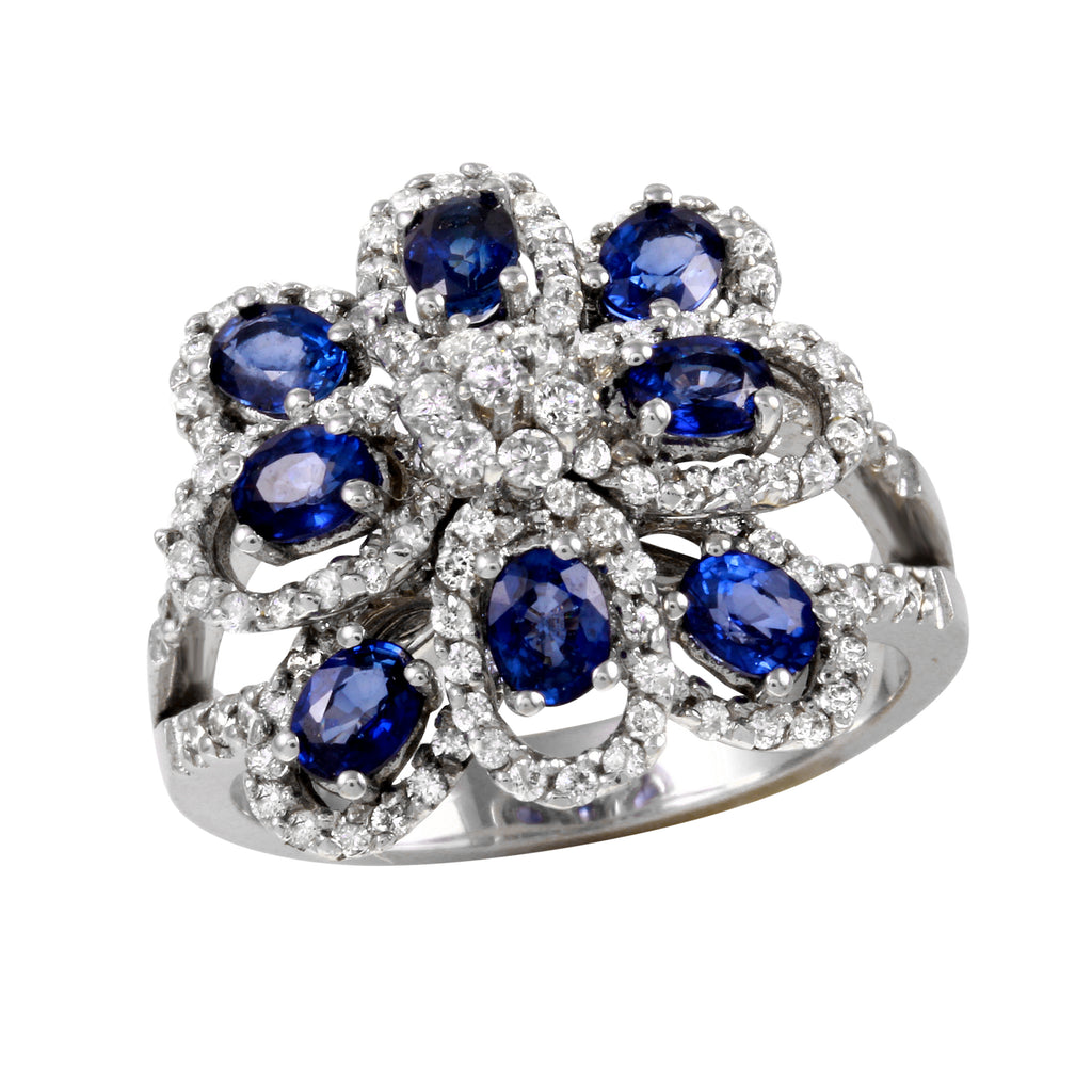 Women's 14k White Gold Sapphire Diamond Flower Ring