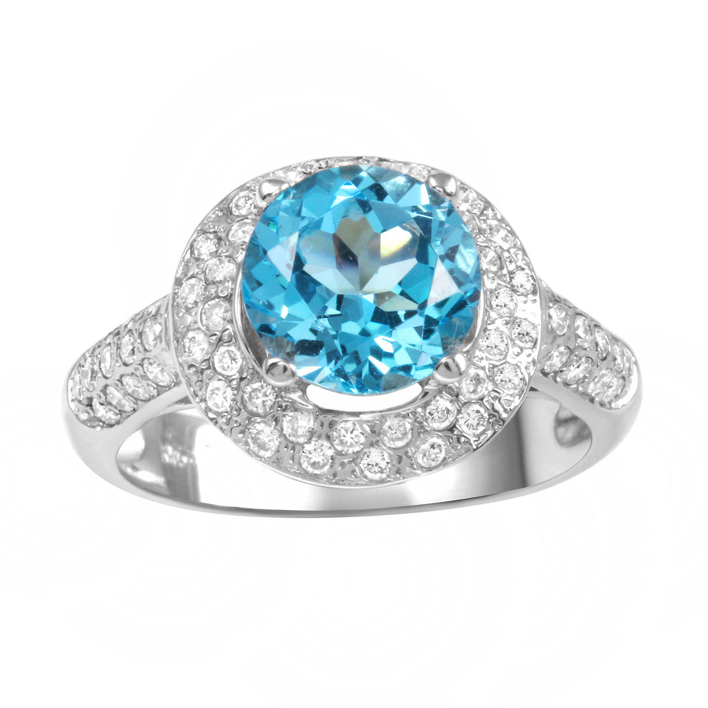 14k White Gold Diamond Turquoise Wedding Engagement Ring