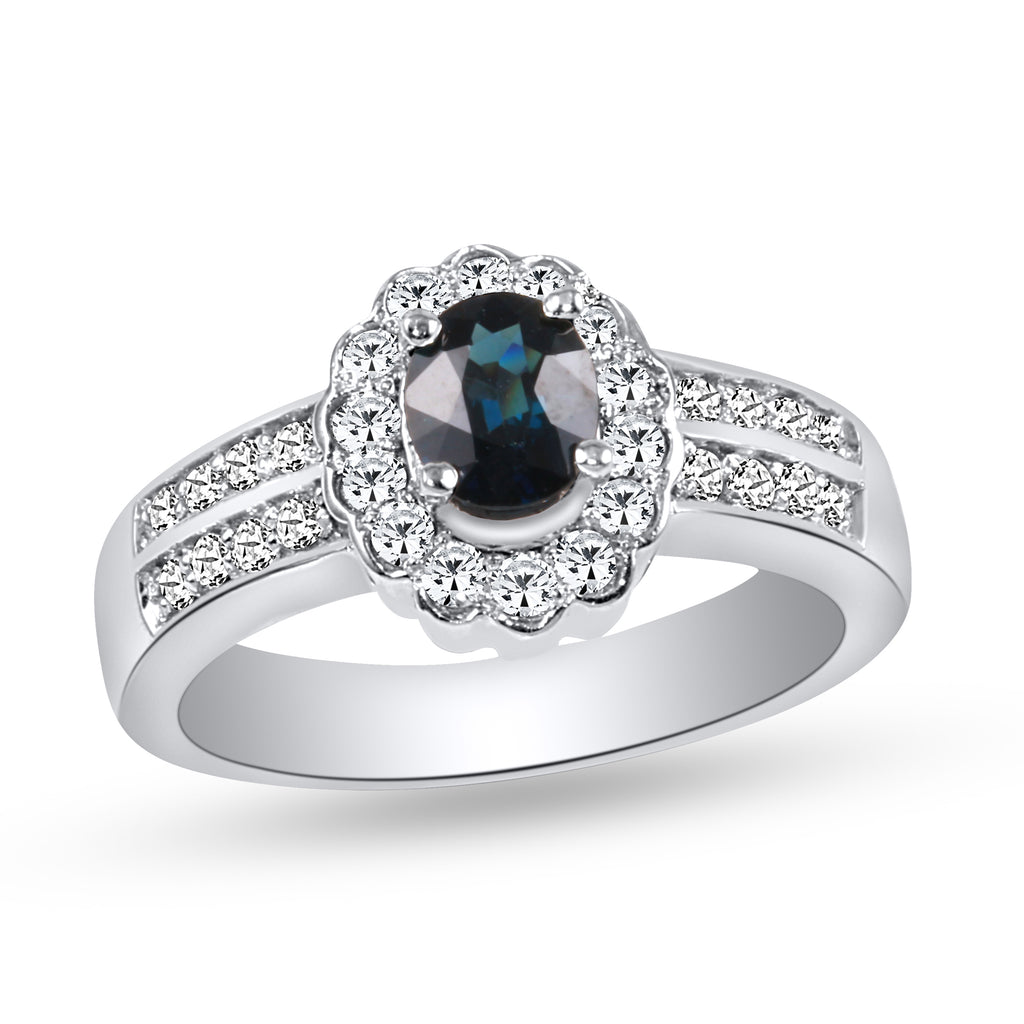 Women's 14k White Gold Blue Sapphire Diamond Ring