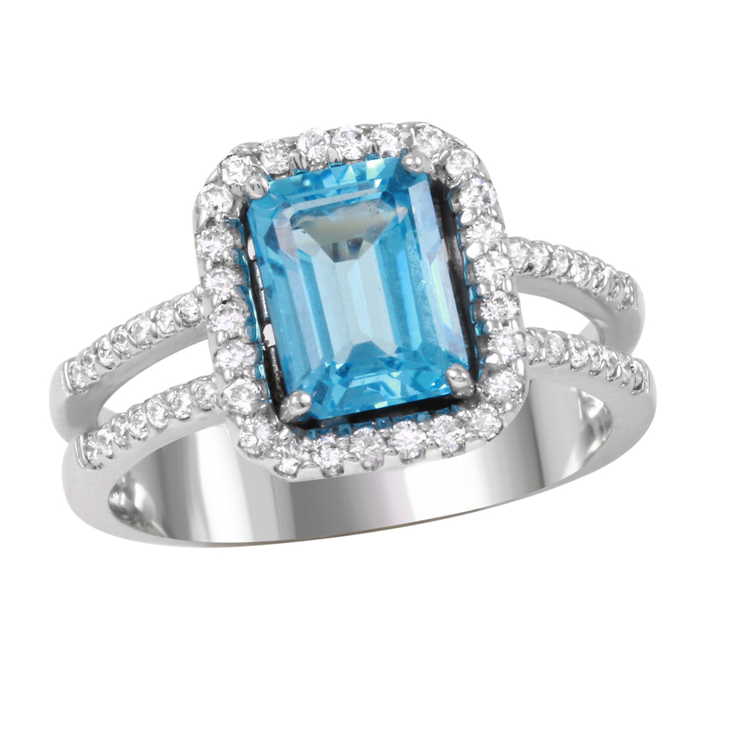 Women's 14k White Gold Diamond Blue Turquoise Engagement Wedding Ring
