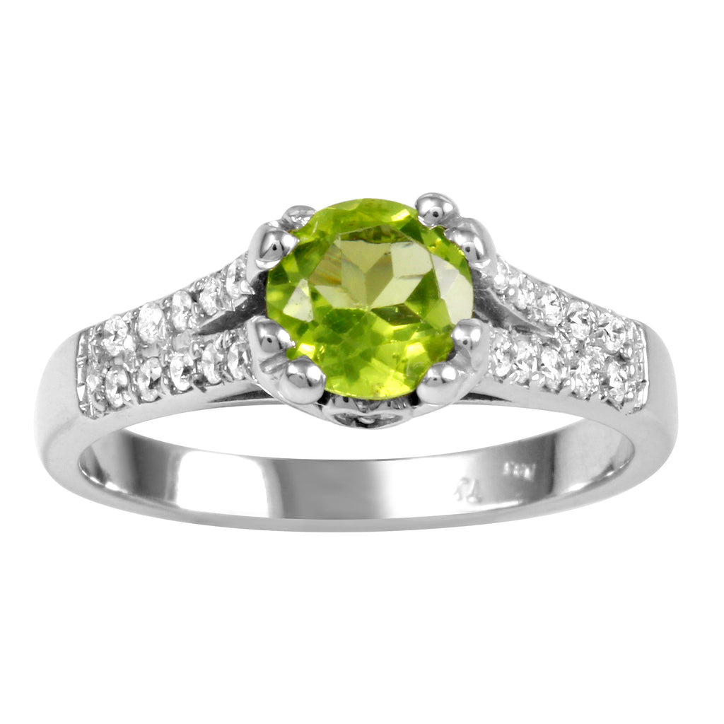 Women's 14k White Gold Peridot Diamond Wedding Engagement Ring