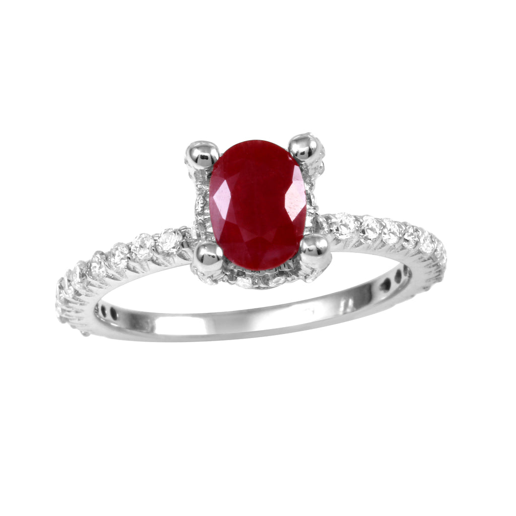 14k White Gold Garnet Diamond Solitaire Engagement Ring
