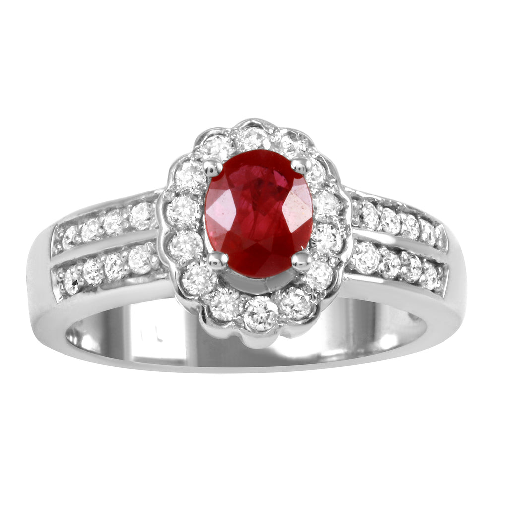 14k White Gold Diamond Garnet Wedding Engagement Ring