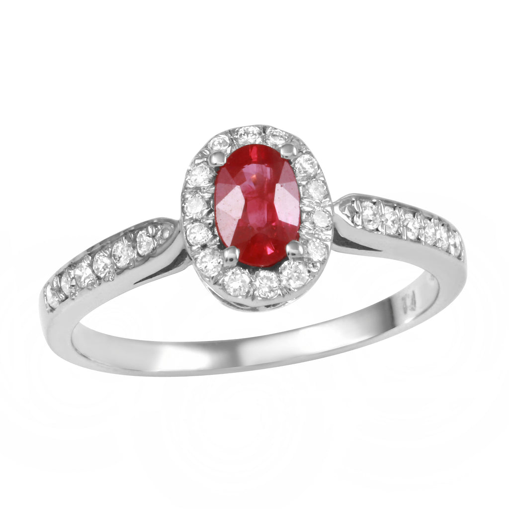 Women's 14k White Gold Diamond Garnet Wedding Engagement Ring