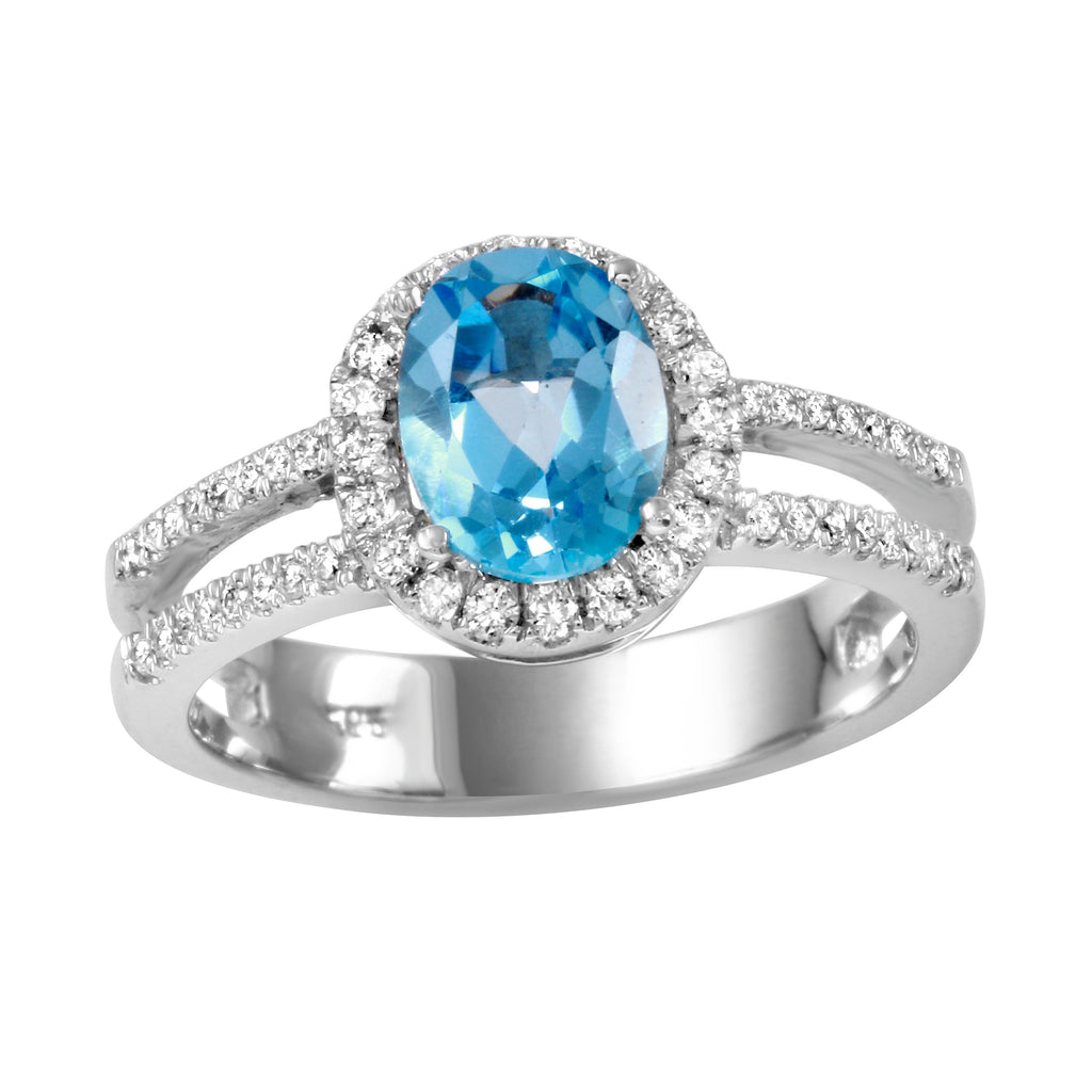 14k White Gold Turquoise Diamond Engagement Ring