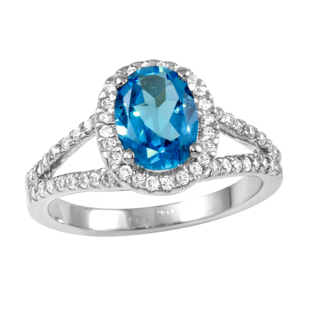 Women's 14k White Gold Diamond Turquoise Wedding Engagement Ring