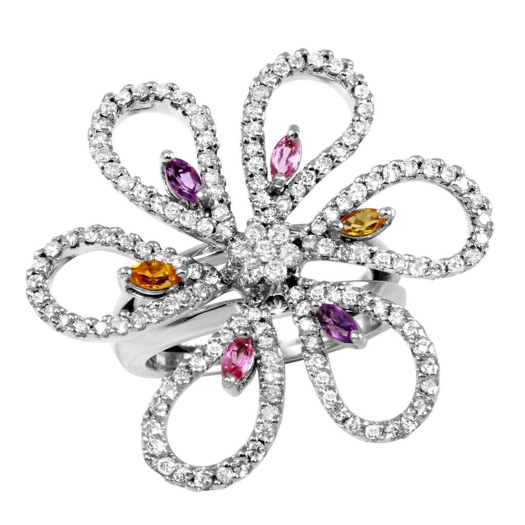 Women's 14k White Gold Diamond Colored Stone Flower Ring