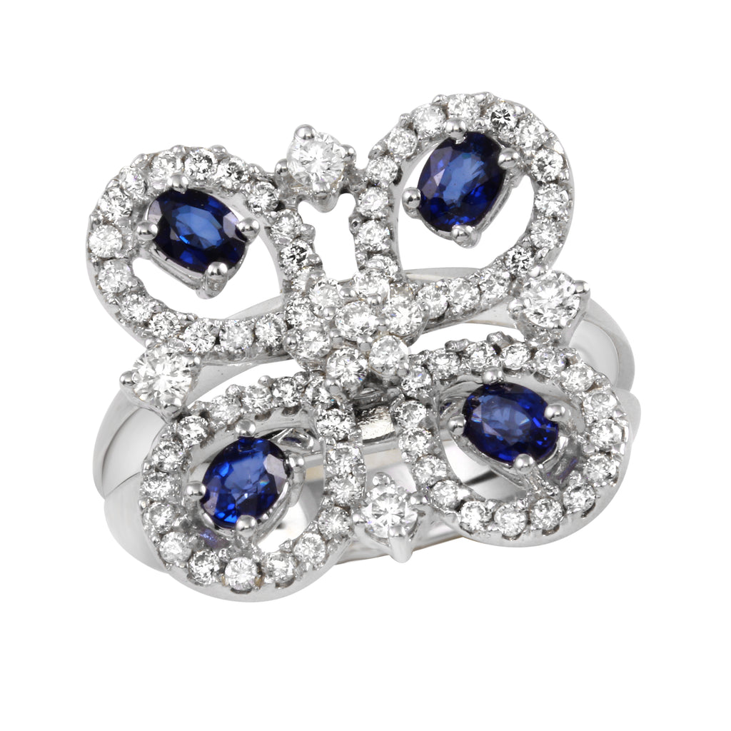 Women's 14k White Gold Diamond Sapphire Butterfly Ring