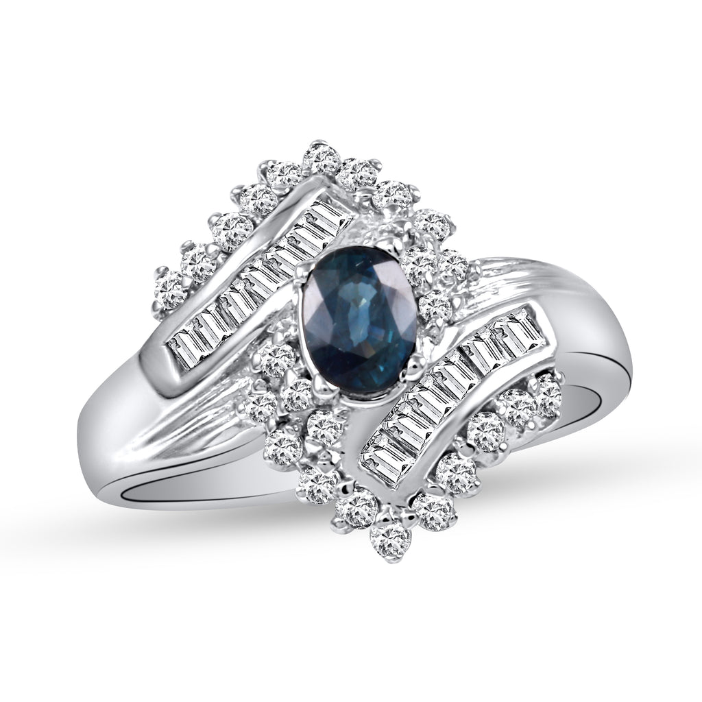 18k White Gold Diamond Sapphire Wedding Engagement Ring