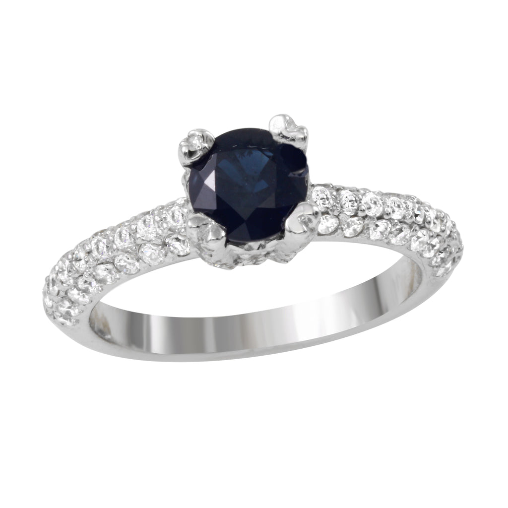 Women's 14k White Gold Sapphire Diamond Engagement Wedding Ring