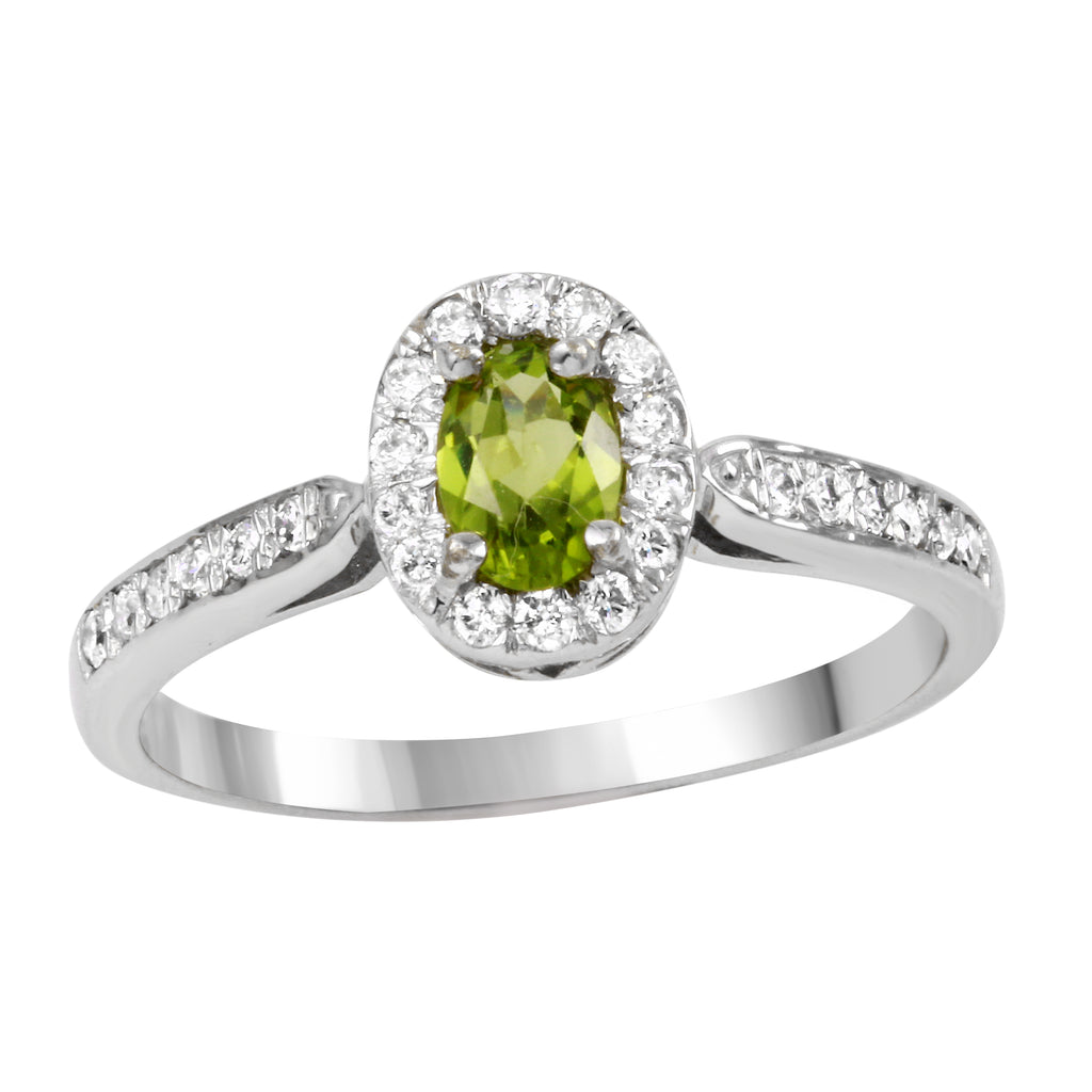14k White Gold Diamond Peridot Wedding Engagement Ring SIZE 6.75