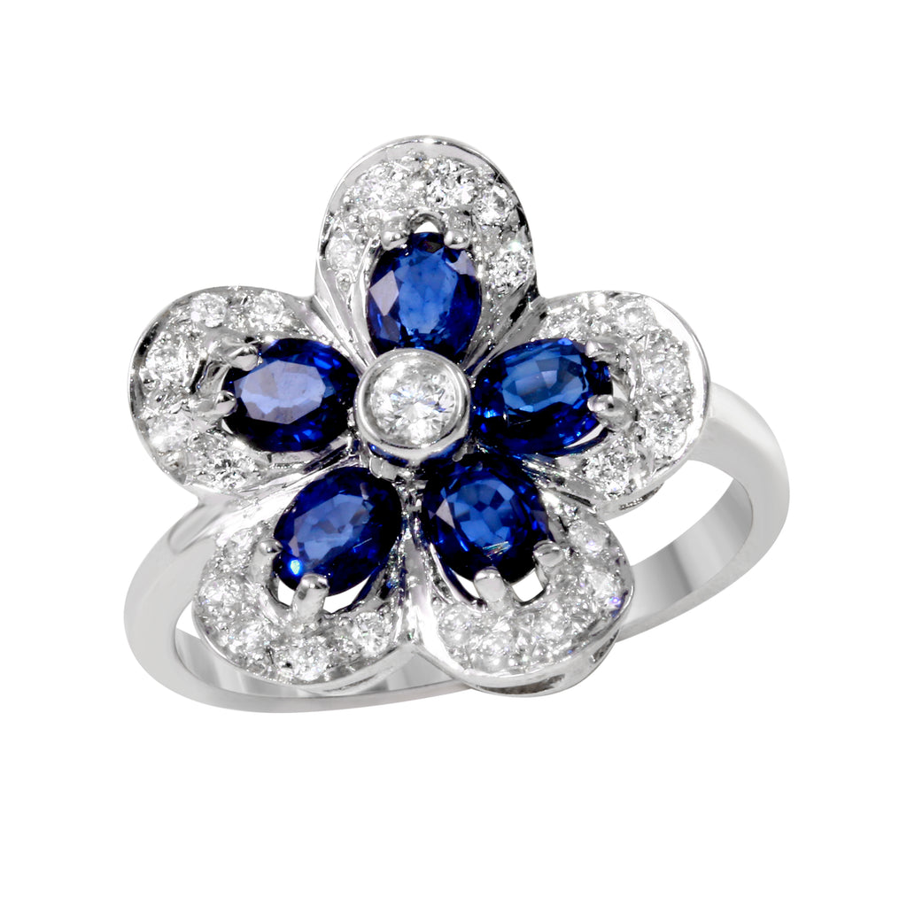 14k White Gold Diamond Sapphire Flower Ring, Size 8