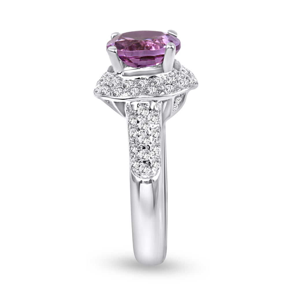 14k White Gold Alexandrite Diamond Wedding Engagement Ring