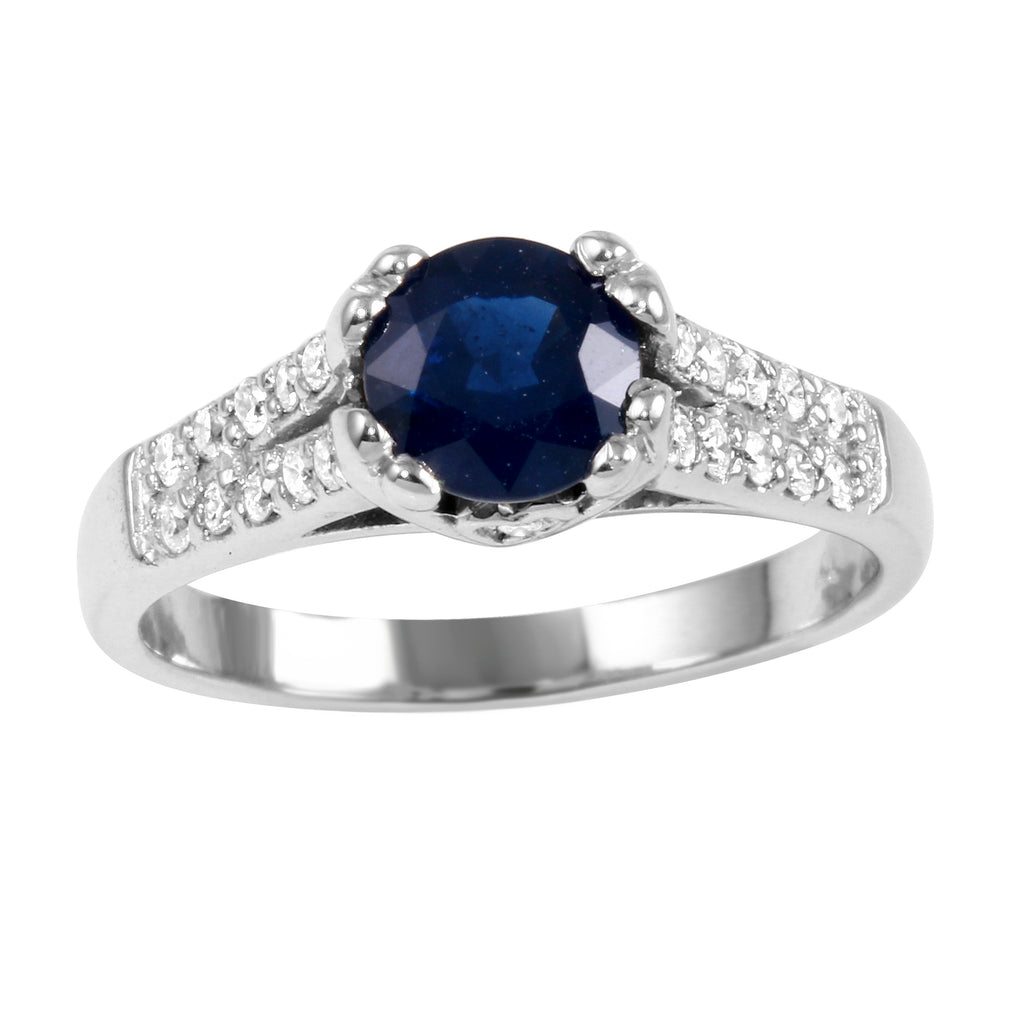 14k White Gold Diamond Sapphire Wedding Engagement Ring