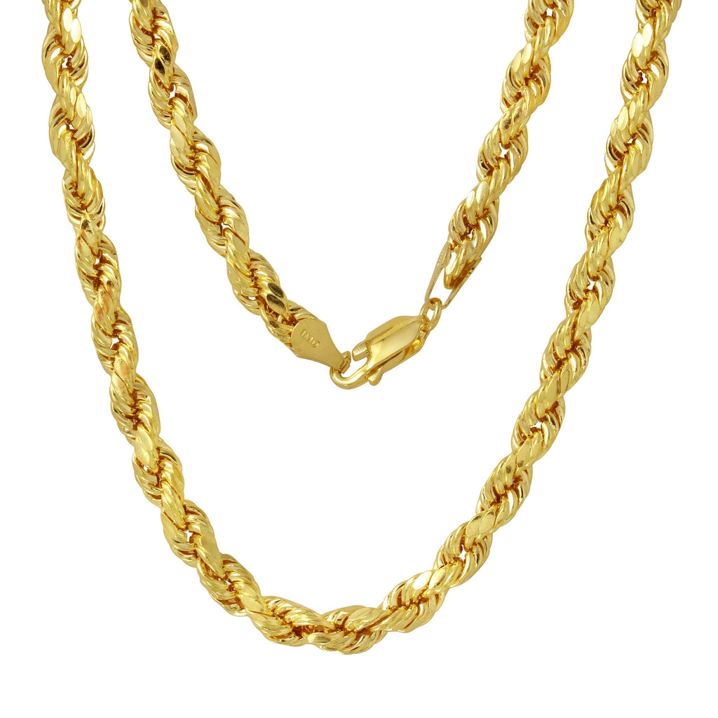 Men's 14k Yellow Gold 7.0mm Diamond-Cut Rope Chain Necklace, 22-30""