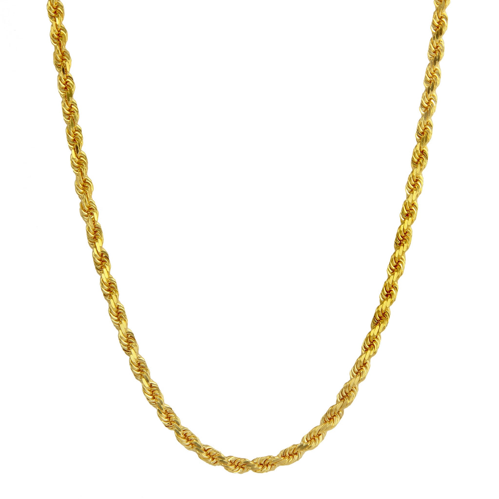 Men's 14k Yellow Gold 6.0mm Diamond-Cut Rope Chain Necklace, 22-30""