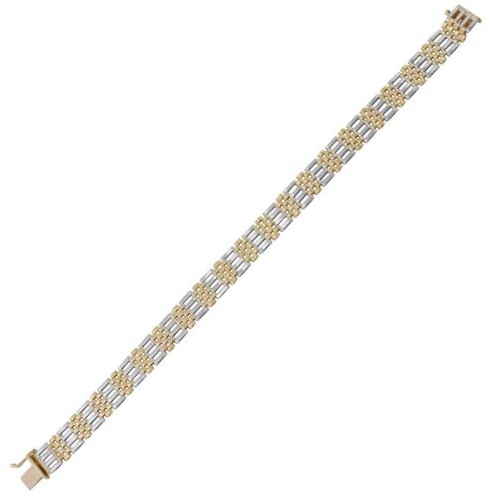 14k Two-Tone Gold 9.4mm Men's Bracelet, 8.25""