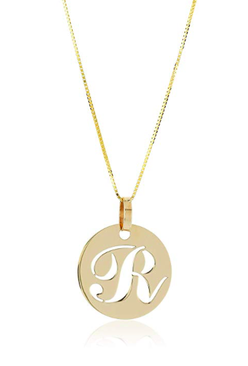 14k Yellow Gold Italian Script Initial Pendant Necklace, A-Z