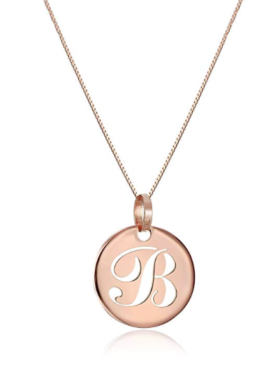 14k Rose Gold Italian Script Initial Pendant Necklace, A-Z - Bee Jewels