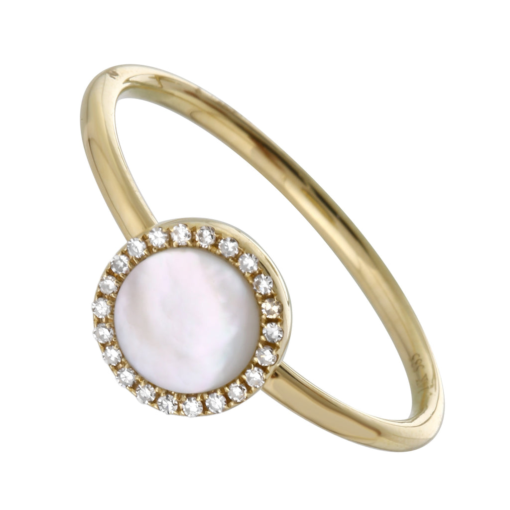 14k Yellow Gold Mother of Pearl Diamond Pave Halo Ring (0.06 cttw, H-I Color, I1-I2 Clarity)