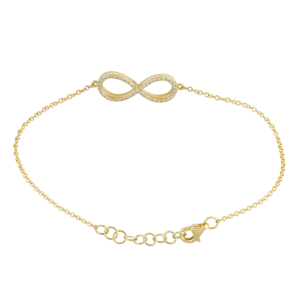 """Remark"" 14k Yellow Gold Diamond Pave Infinity Charm Bracelet (1/8 cttw, H-I Color, I1-I2 Clarity), 6+1"" Extender"