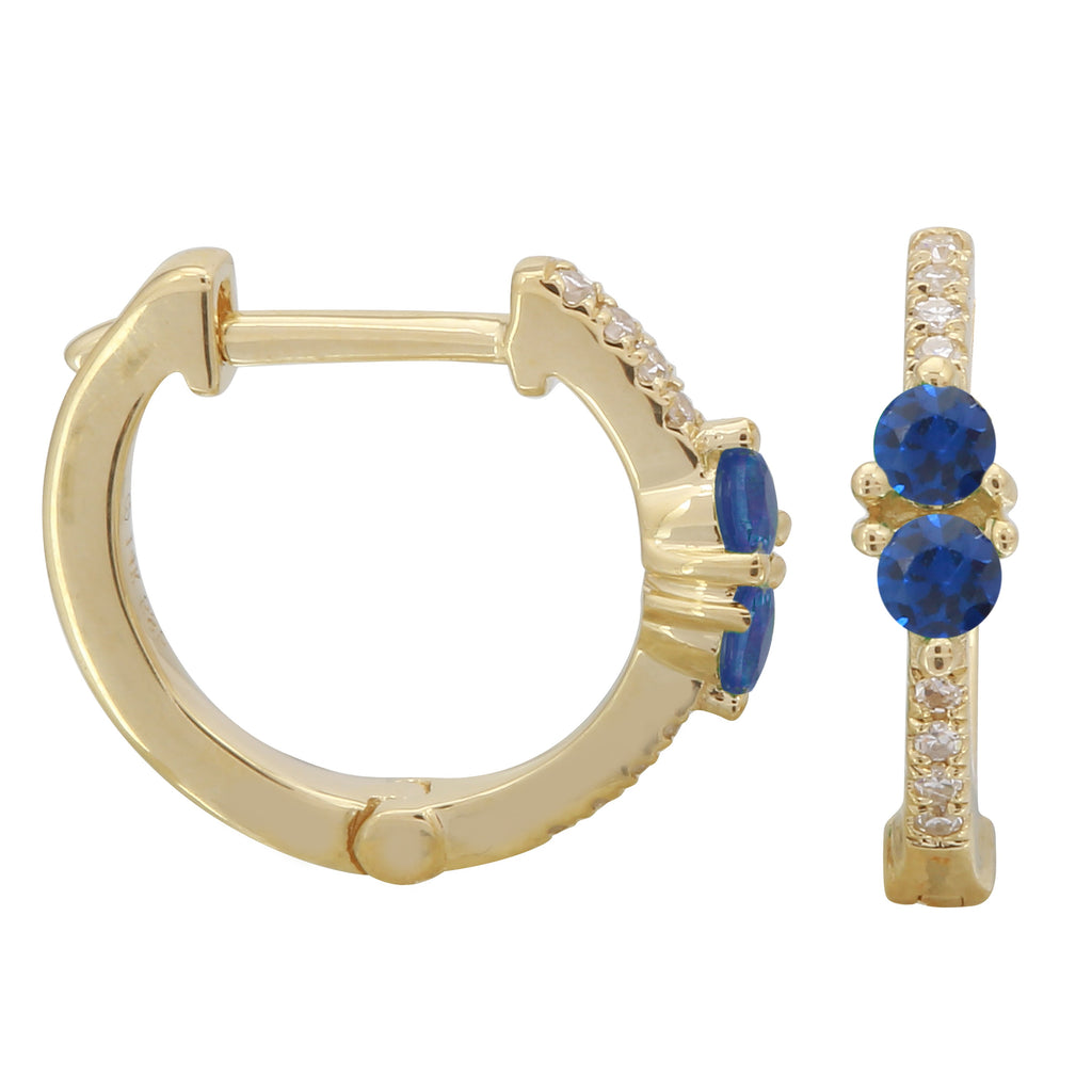 14k Yellow Gold Diamond Sapphire Huggie Hoop Earrings (1/4 cttw), 9.5mm Diameter