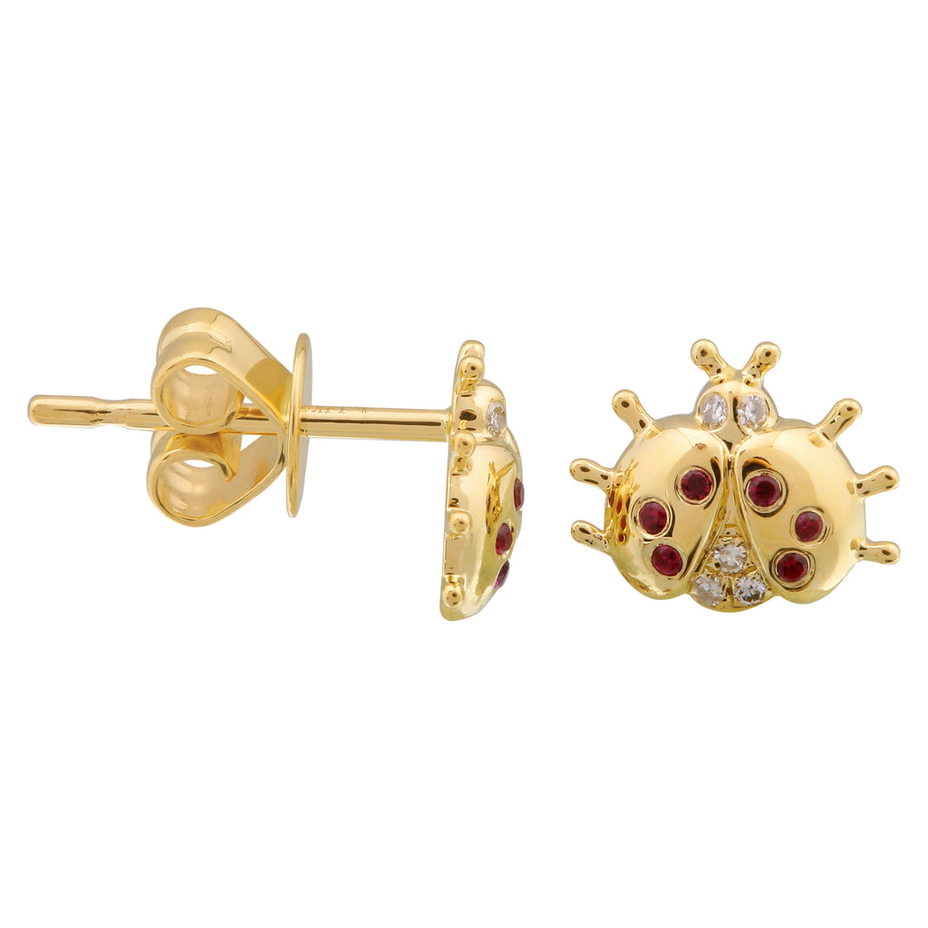 14k Yellow Gold Diamond Ruby Ladybug Stud Earrings (0.03 cttw)