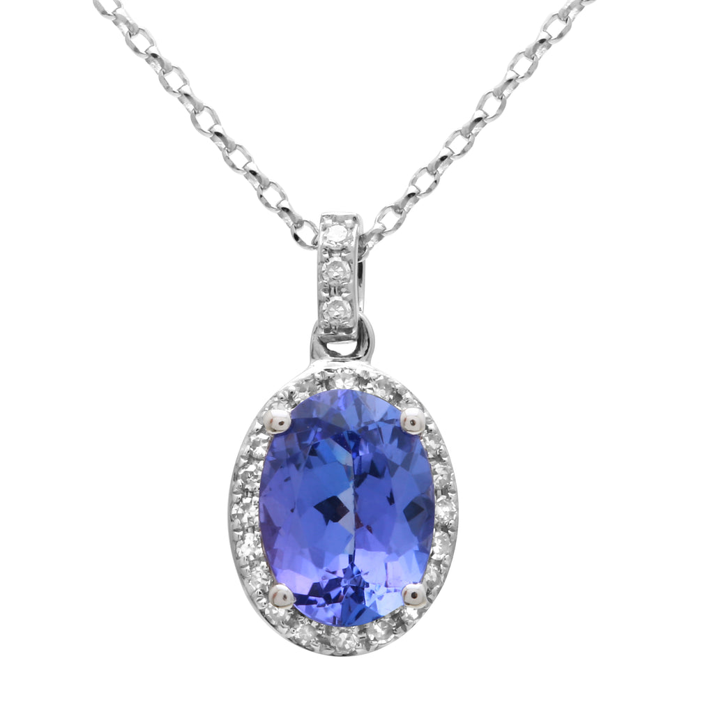 14k White Gold Diamond Tanzanite Oval Halo Pendant Necklace (0.08 cttw, I-J Color, I2-I3 Clarity), 16""