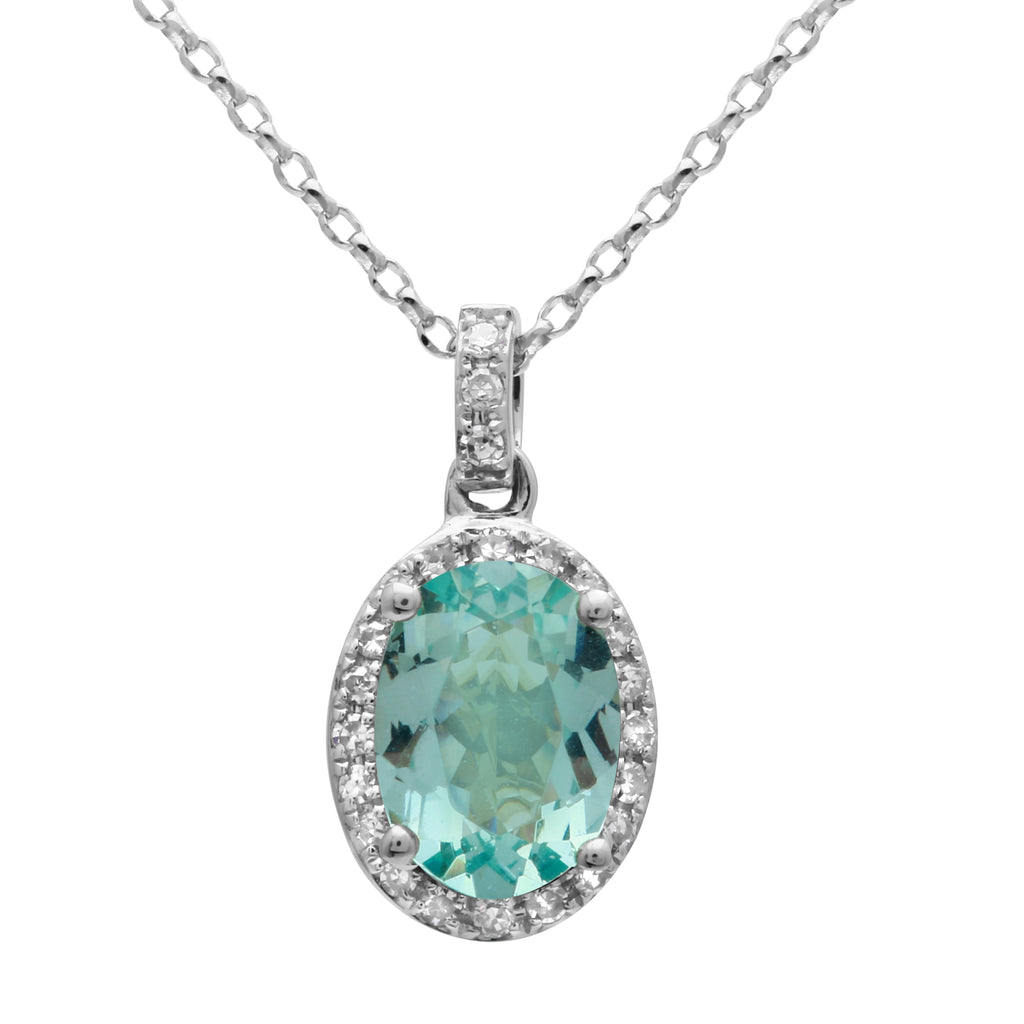 14k White Gold Diamond Apatite Oval Halo Pendant Necklace (7/8 cttw), 16""
