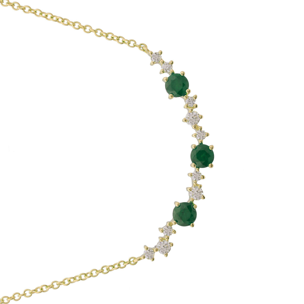 "14k Yellow Gold Diamond Emerald Accent Station Pendant Necklace (1/10 cttw, J-K Color, S2-I1 Clarity), 16+2"" Extender"