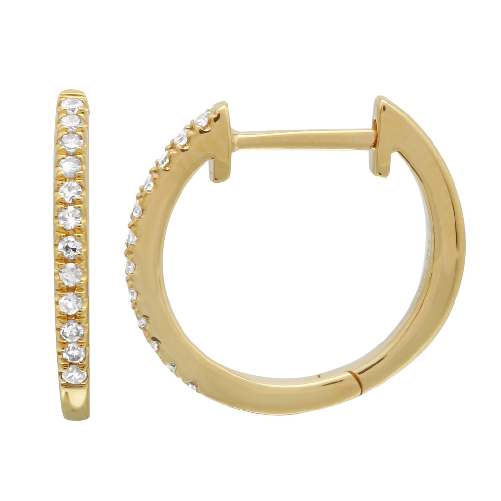 14k Yellow Gold Diamond Pave Hoop Earrings (0.08 cttw, H-I Color, I1-I2 Clarity), 9mm Diameter