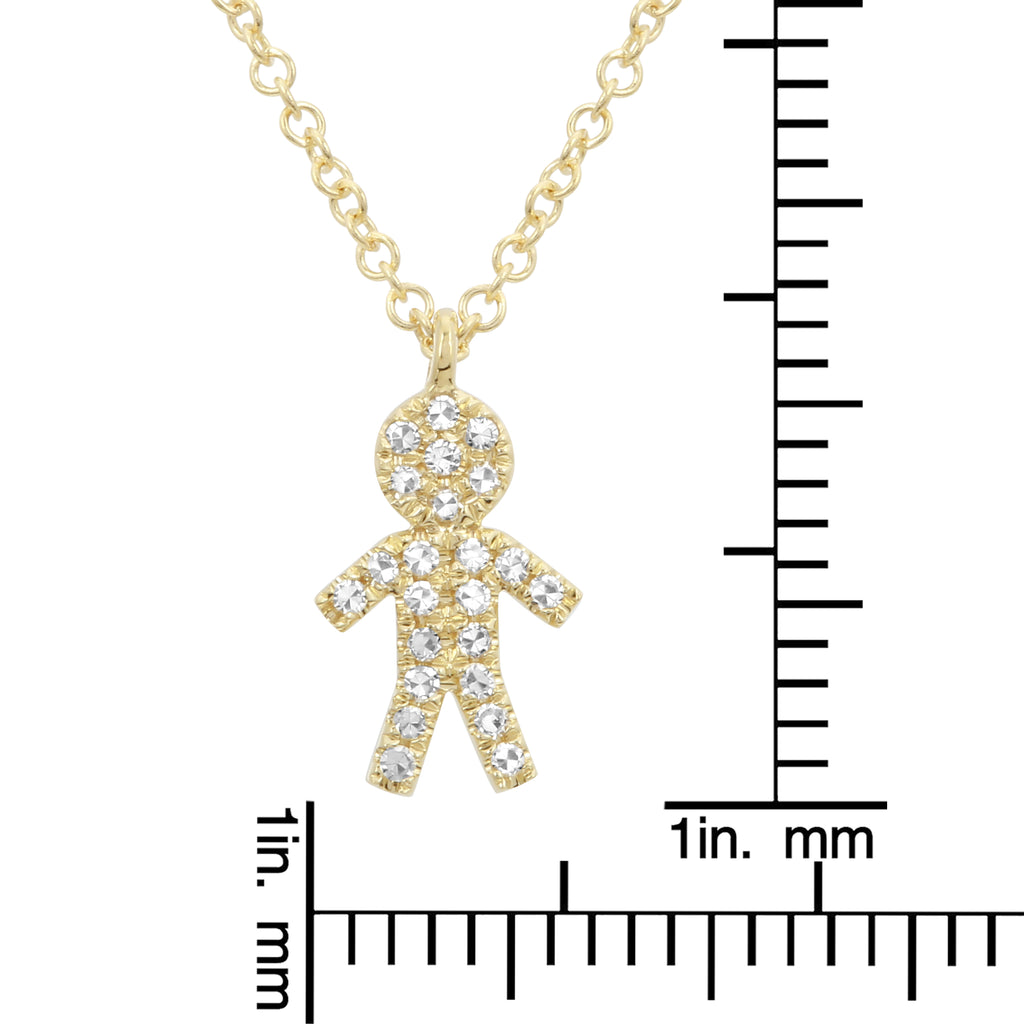 14k Yellow Gold Diamond Pave Boy Charm Pendant Necklace (1/20 cttw), 16+2""