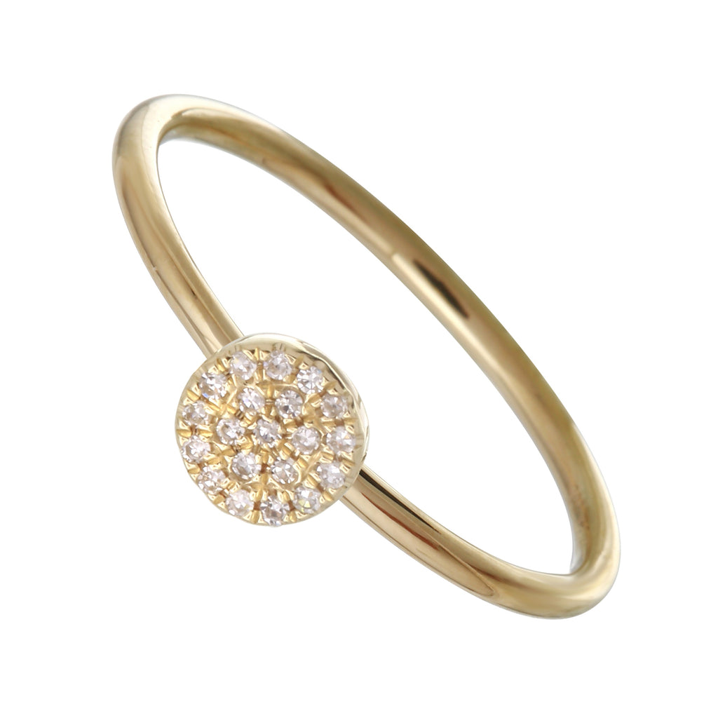 14k Gold Diamond Pave Disc Band Ring (1/20 cttw, H-I Color, I1-I2 Clarity)