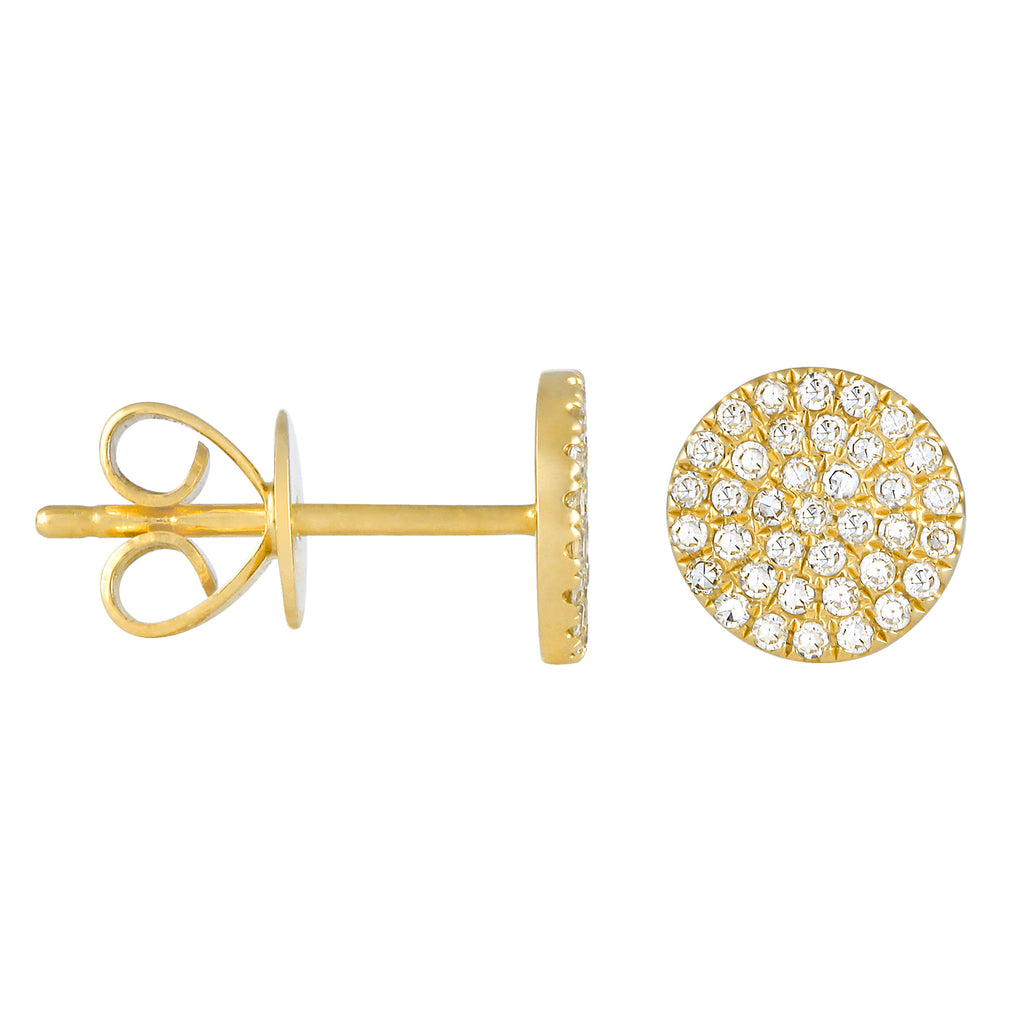 14k Yellow Gold Diamond Accent Flat Disc Stud Earrings (1/5 cttw)