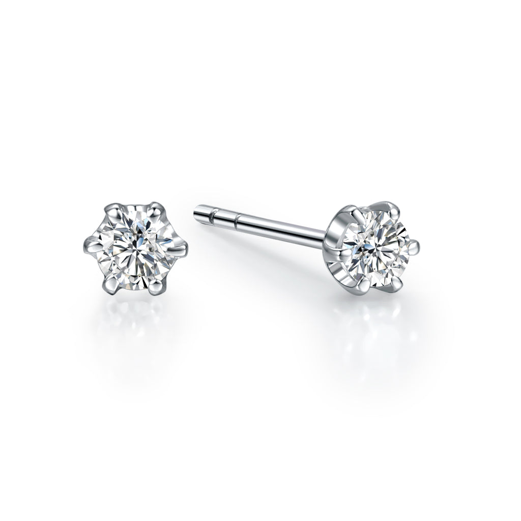 REEMARK™ 18k White Gold Diamond Solitaire Stud Earrings (1/10 cttw, I-J Color, I1-I2 Clarity)