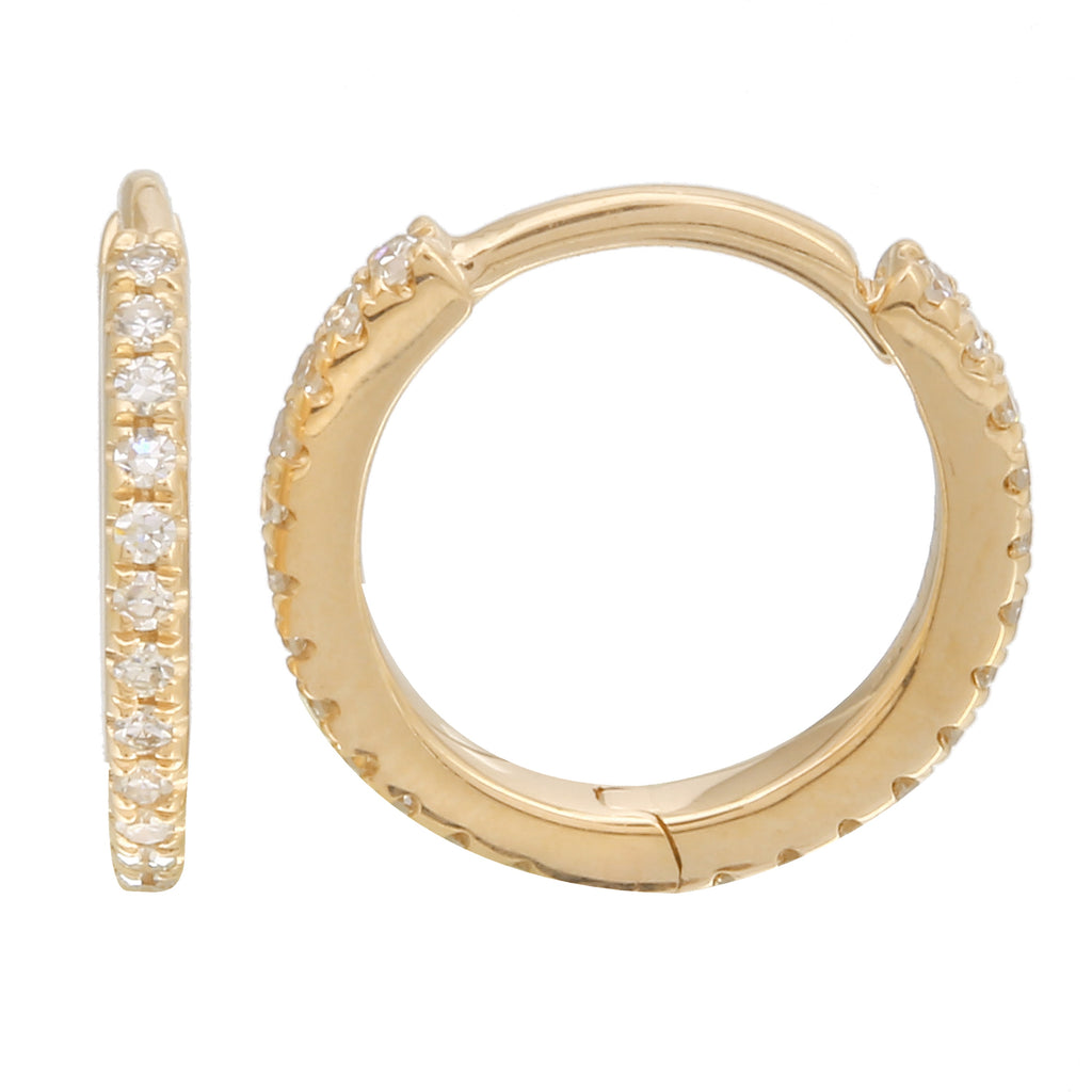 14k Yellow Gold Diamond Pave Hoop Earrings (1/10 cttw, H-I Color, I1-I2 Clarity), 8mm Diameter