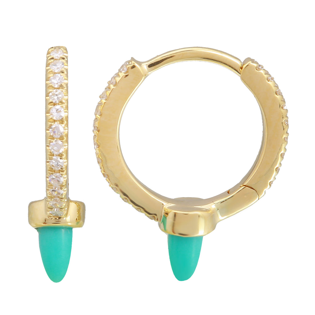 14k Yellow Gold Diamond Turquoise Drop Hoop Earrings (1/10 cttw, H-I Color, I1-I2 Clarity), 8mm Diameter