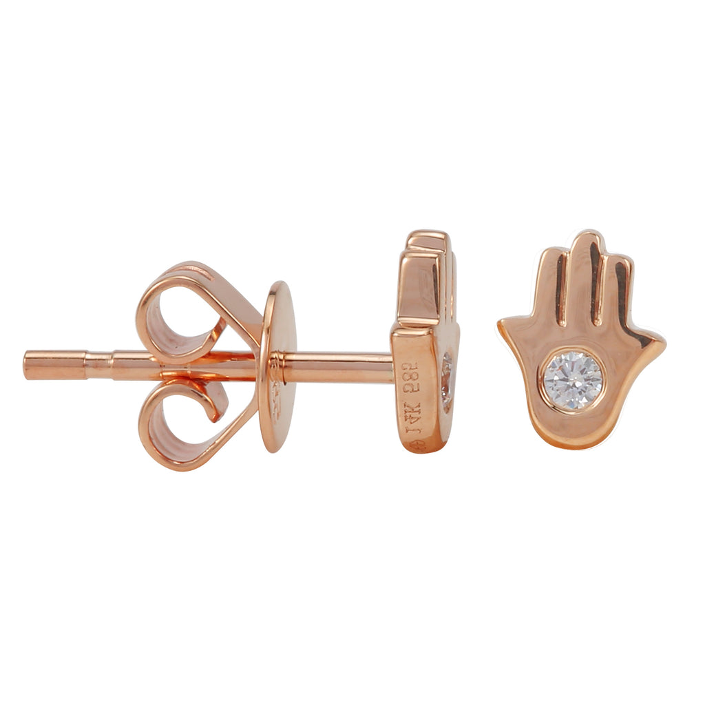 14k Rose Gold Diamond Bezel Hamsa Hand Stud Earrings (1/20 cttw, J-K Color, SI2-I1 Clarity)