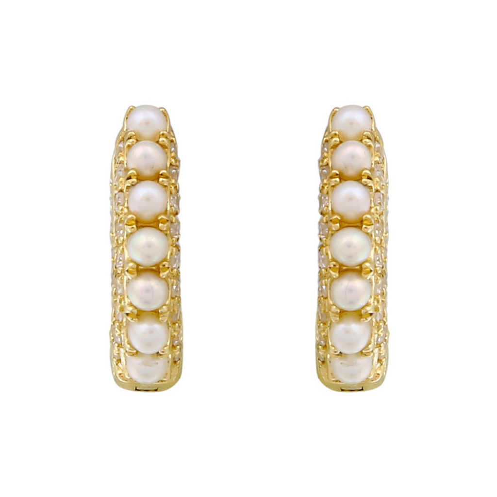 14k Yellow Gold Diamond Pearl Beaded Hoop Earrings (1/4 cttw, I-J Color, I2-I3 Clarity) 11mm Diameter