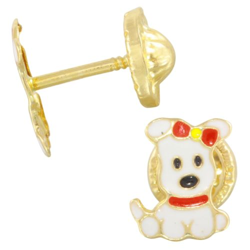 14k Yellow Gold Red Bow Puppy Baby Stud Earrings