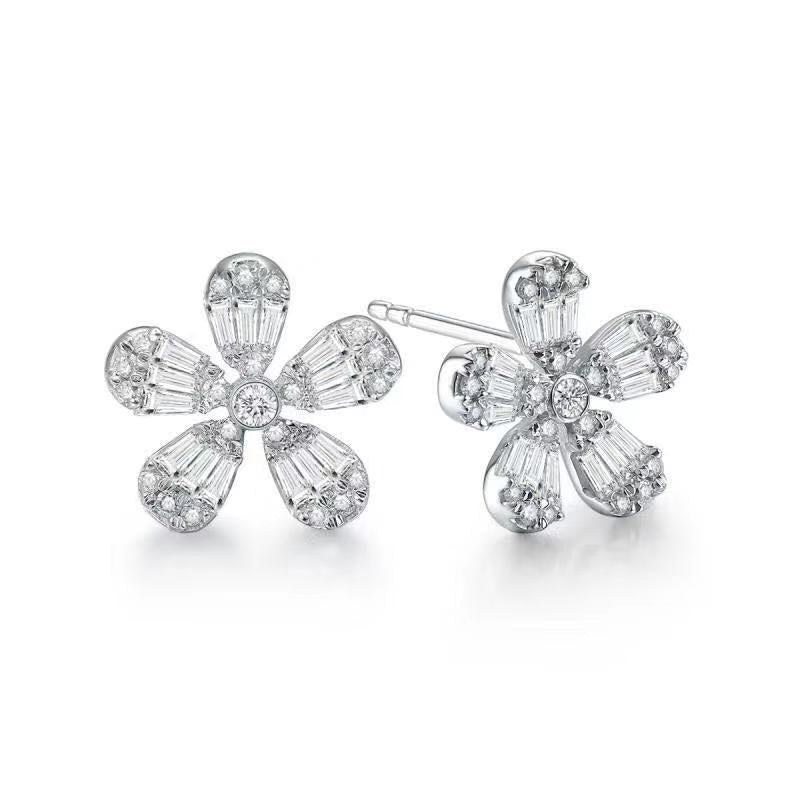 REEMARK™ 18k White Gold Baguette Diamond Flower Stud Earrings (5/8 cttw, I-J Color, I1-I2 Clarity)