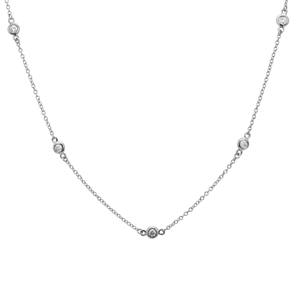 "14k White Gold Diamond Bezel Station Charm Strand Necklace (1/3 cttw, J-K Color, S2-I1 Clarity), 16+2"" Extender"