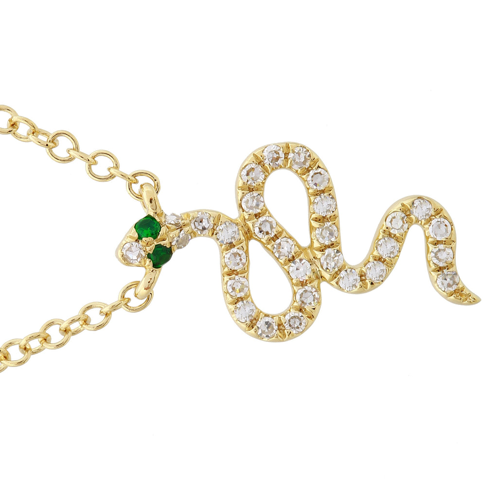 """Remark"" 14k Yellow Gold Diamond Tsavorite Snake Pendant Necklace (0.08 cttw, H-I Color, I1-I2 Clarity), 16+2"""