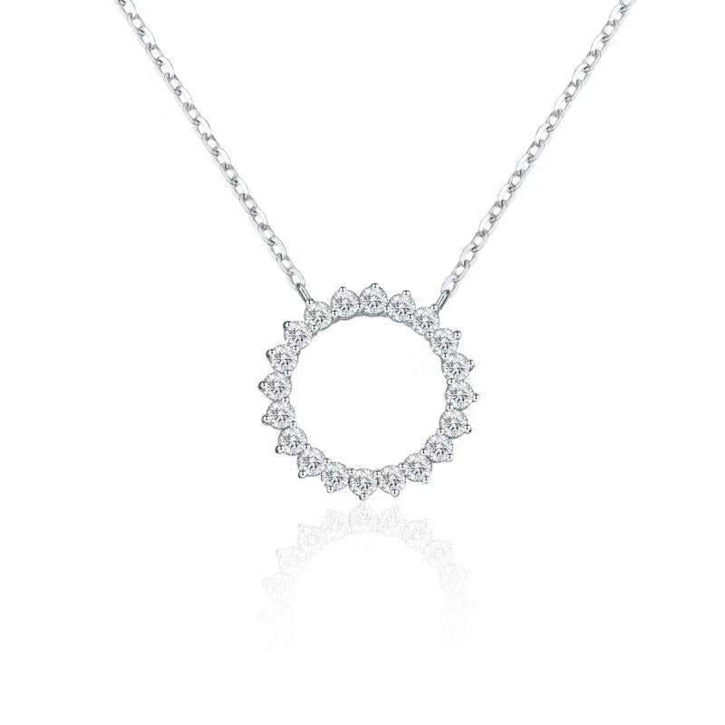 "REEMARK™ 18k White Gold Diamond Open Circle Pendant Necklace (5/8 cttw, I-J Color, I1-I2 Clarity), 15+2"" Extender"