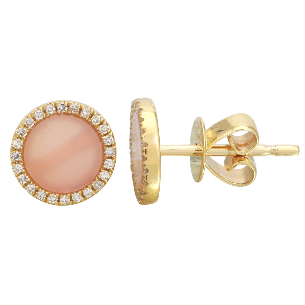 14k Yellow Gold Diamond Pink Opal Big Halo Stud Earrings (1/10 cttw, H-I Color, I2-I3 Clarity)