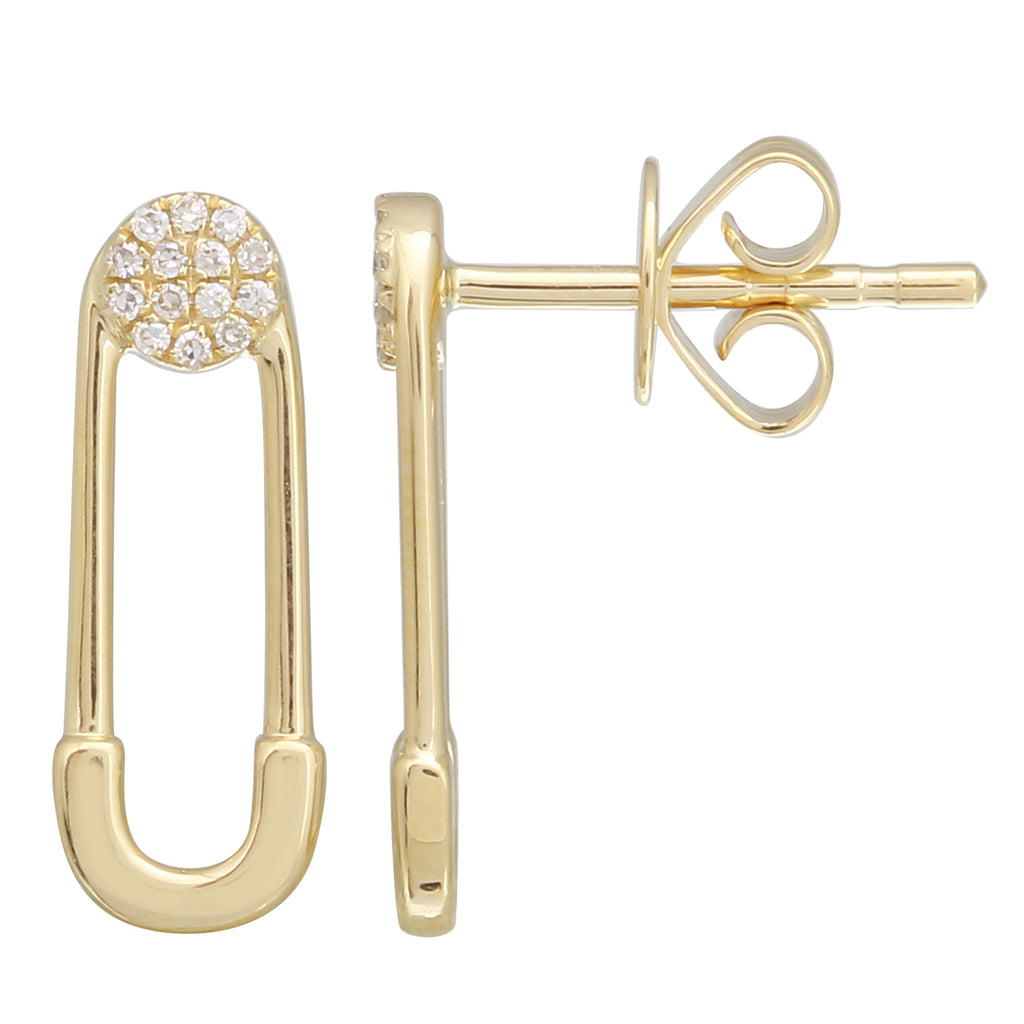 14k Yellow Gold Diamond Pave Safety Pin Stud Earrings (1/20 cttw)