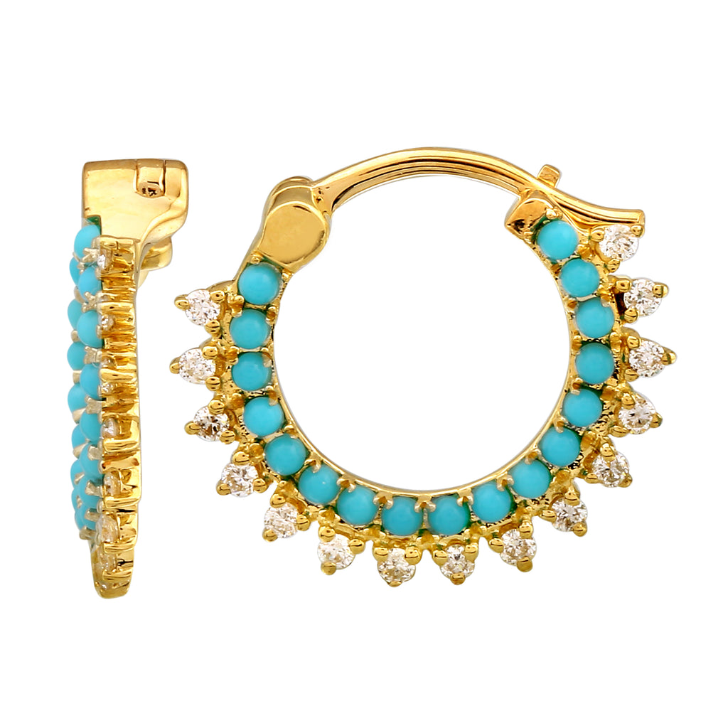 14k Yellow Gold Diamond Turquoise Beaded Lace Hoop Earrings (1/5 cttw, H-I Color, I2-I3 Clarity) 13mm Diameter