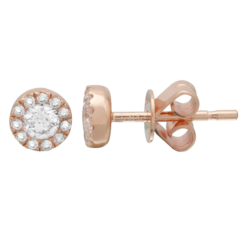 14k Rose Gold Diamond Halo Stud Earrings (1/3 cttw, I-J Color, I1-I2 Clarity)