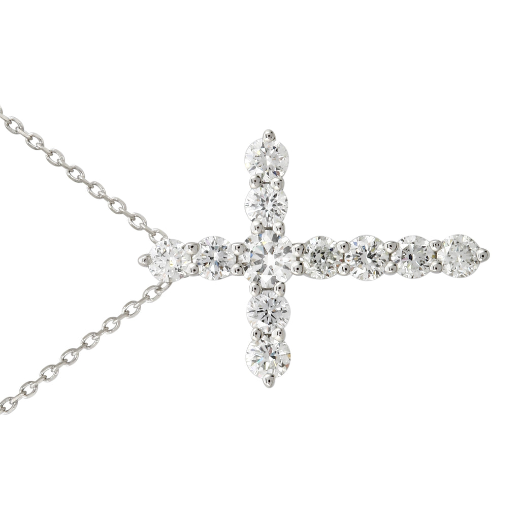 14k White Gold LabCreated Diamond Cross Pendant Necklace