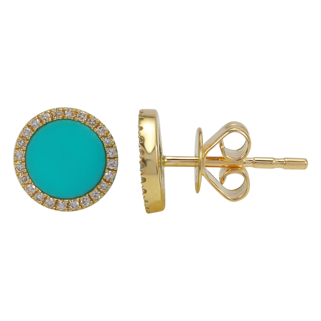 14k Yellow Gold Diamond Turquoise Big Halo Stud Earrings (1/10 cttw, I-J Color, I2-I3 Clarity)